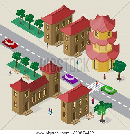 Vector Cityscape In East Asia Style. Set Of Isometric Buildings, Pagoda, Roadway, Benches, Trees, Ca