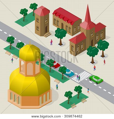Vector Cityscape In European Architectural Style. Set Of Isometric Buildings, Church, Roadway, Bench