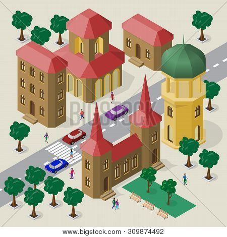 Vector Cityscape In European Architectural Style. Set Of Isometric Buildings, Belfry, Roadway, Bench