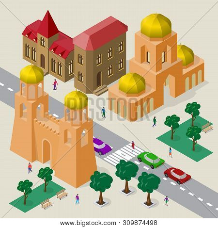 Vector Cityscape In European Architectural Style. Set Of Isometric Buildings, Church, Fortress Wall