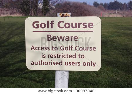 access to golf course sign