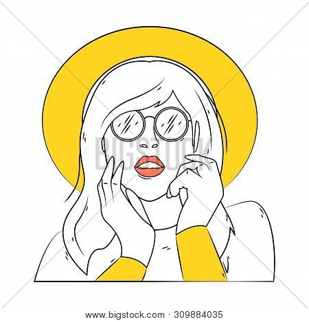 Portrait Of A Girl In Sunglasses And A Wide-brimmed Hat. Line Art.