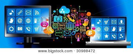 社交媒体,全球计算机网络中的通信。AI10 EPS 版本中保存文件。