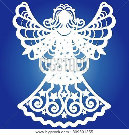Carved Openwork Angel Silhouette With Heart. Laser Cut Christmas Carved Openwork Angel. Greeting Car