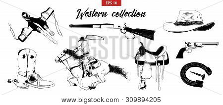 Vector Engraved Style Illustration For Posters, Decoration And Print. Hand Drawn Sketch Set Of Weste
