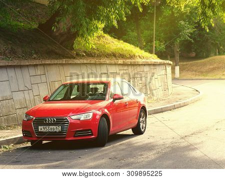 Gomel, Belarus - July 1, 2019: Red Car Audi Is Parked On The Slope.