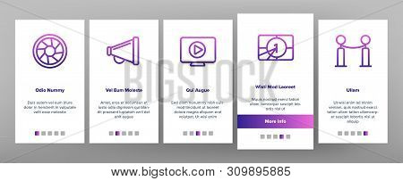 Film Edit, Filmmaking Onboarding Mobile App Page Screen Vector Icons Set. Movie Shooting, Editing Th