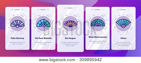Handheld Elegant Fans Vector Onboarding Mobile App Page Screen. Ancient Women Foldable Fans Outline