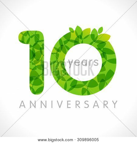 10 Th Anniversary Numbers. 10 Years Old Logotype. Age Congrats, Congratulation Idea With Leaves. Iso