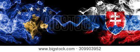 Kosovo Vs Slovakia, Slovakian Smoky Mystic Flags Placed Side By Side. Thick Colored Silky Smokes Com