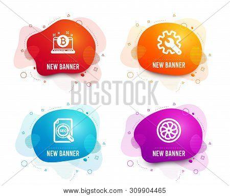 Liquid Badges. Set Of Customisation, Bitcoin And Seo File Icons. Fan Engine Sign. Settings, Cryptocu