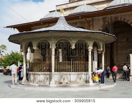 Konya, Turkey - October 08, 2018: People Visiting The Mevlana Museum Which Is The Location Of The To