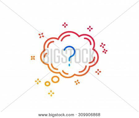Question Mark Line Icon. Quiz Chat Bubble Sign. Gradient Design Elements. Linear Question Mark Icon.