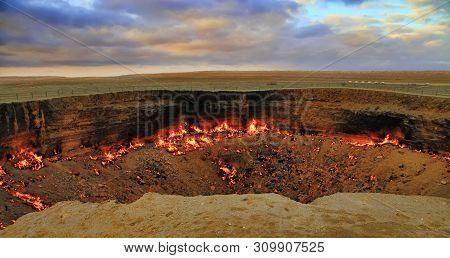 The Karakum Desert. Turkmenistan. Darvaza. Burning Gas Crater Called