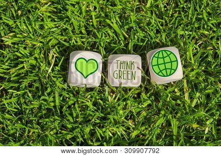 Cubes And Dice With Think Green And Save Our Planet With Green Electricity