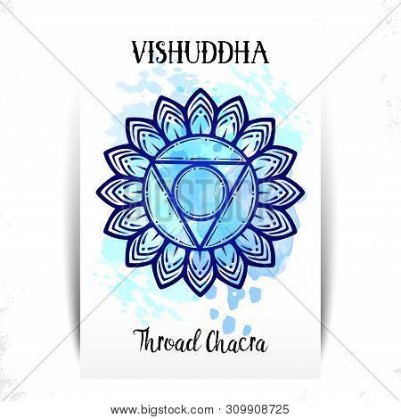 Vector Illustration With Symbol Chakra Vishuddha Circle Mandala Pattern And Hand Drawn Lettering. Li