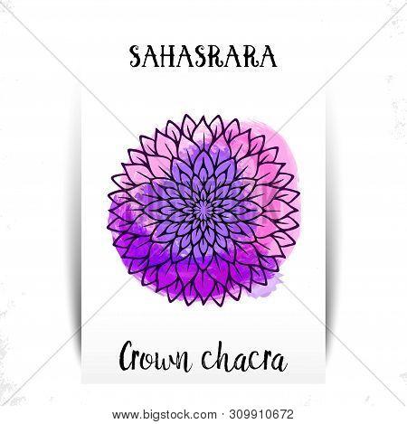 Seventh, Crown Chakra - Sahasrara. Illustration Of One Of The Seven Chakras. The Symbol Of Hinduism,