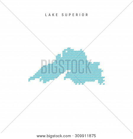 Vector Blue Wave Pattern Map Of Lake Superior, One Of The Great Lakes Of North America. Wavy Line Pa