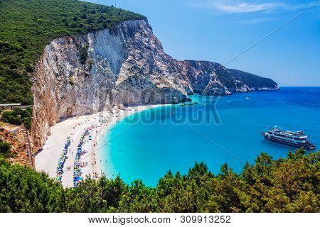 Most beautiful beaches of Greece - Porto Katsiki in Lefkada. Ionian islands