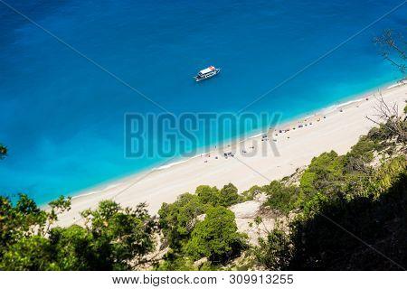 Lefkada island in Greece. Egremni beach