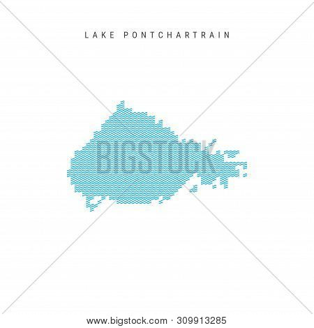 Vector Blue Wave Pattern Map Of Lake Pontchartrain, One Of The Lakes Of North America. Wavy Line Pat