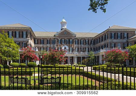 Landmark Academy Building Of Colonial Revival Architecture In New Orleans Louisiana