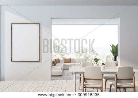 White Dining Room And Living Room Interior, Poster