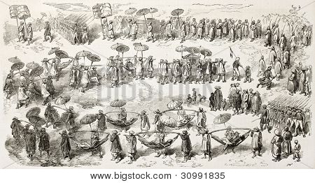 Vice-Admiral Louis Adolphe Bonard going to sign peace treaty in King's of Annam (Vietnam) palace. Created by Godefroy-Durand, published on L'Illustration, Journal Universel, Paris, 1863