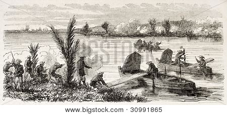 French riflemen building a boat bridge in Go-Cong surroundings (Cochinchina campaign). Created by Gaildrau, published on L'Illustration, Journal Universel, Paris, 1863