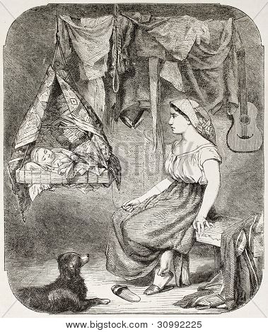 Woman looking at her baby in a cradle. After tablet of Palliere, published on L'Illustration, Journal Universel, Paris, 1863