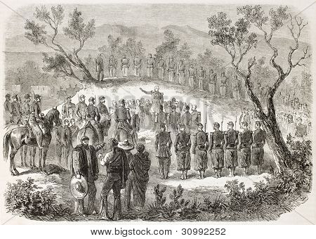 Military funeral of Xavier Jeanne Marie Clement Vernhet de Laumiere, General of French army dead in Mexico. Created by Janet-Lange after Pierson, published on L'Illustration, Paris, 1863 poster