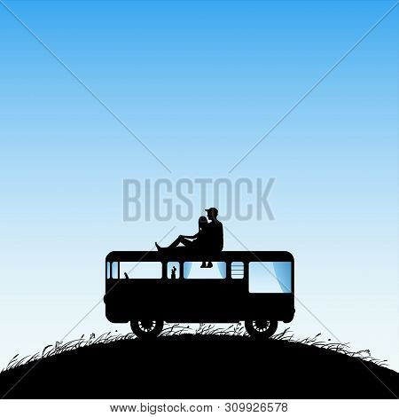 Lovers on roof of cartoon retro car. Vector illustration with silhouette of couple on campsite. Family road trip. Blue pastel background poster