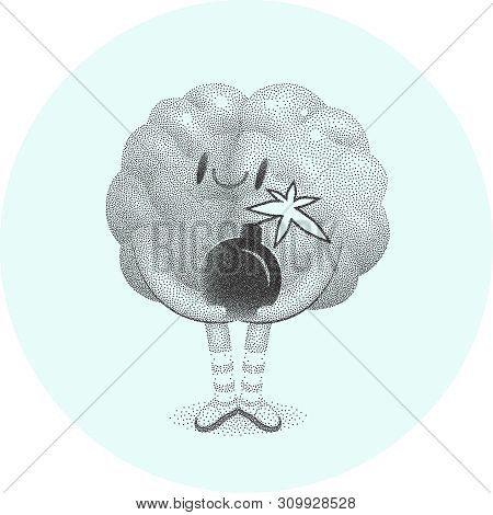 A Vector Dotted Cartoon Illustration Of A Brain Wearing Knee-length Striped Socks Holding The Bomb I