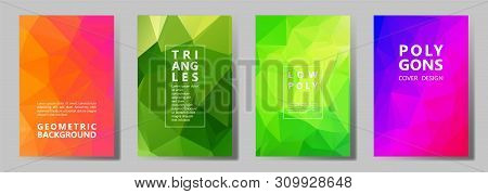 Facet Low Poly Simple Banners, Posters, Flyers Vector Graphic Design Set. Diamond Texture Low Poly P