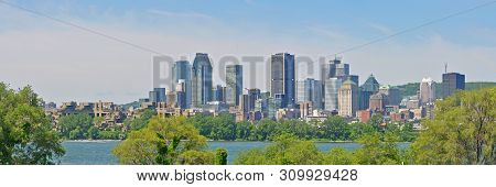 Montreal City Skyline Panorama, Viewed From Ile Notre-dame, Montreal, Quebec, Canada.