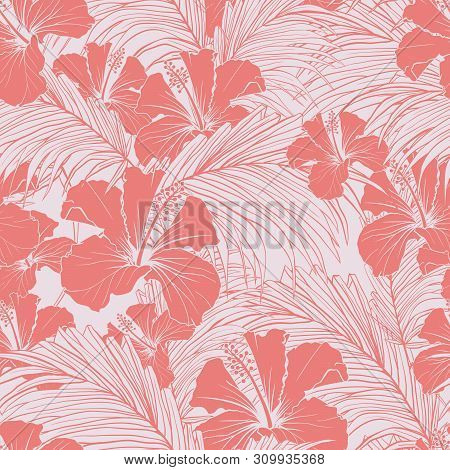 Chinese Rose Vector Seamless Pattern. Blooming Hibiscus And Exotic Palm Tree Foliage Pastel Pink Bac