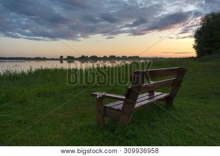 Photo Of Bench With Daisies At The Lake At Sunset After Rain