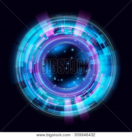 Magic Circle Light Effects. Illustration Isolated On Dark Background. Mystical Portal. Bright Sphere