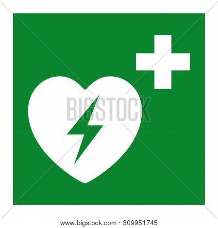Automated External Defibrillator Heart Symbol Isolate On White Background,vector Illustration Eps.10