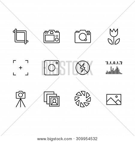 Photography And Photo Camera, Video Filming Icon Simple Symbols Set. Photo Camera Settings, Shutter