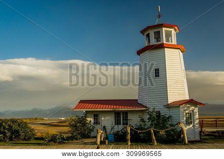 White Lighthouse In Town Of Homer, Kenai Peninsula, Alaska