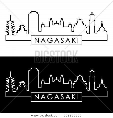 Nagasaki City Skyline. Linear Style. Editable Vector File.