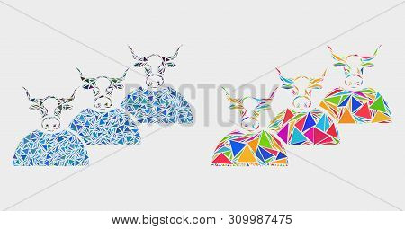 Livestock Herd Collage Icon Of Triangle Elements Which Have Different Sizes And Shapes And Colors. G