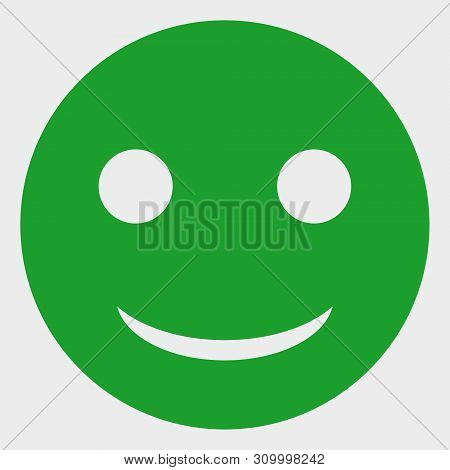 Glad Smiley Vector Illustration. A Flat Illustration Design Of Glad Smiley Icon On A White Backgroun
