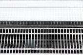 Trench heating with displacement ventilation for draught-free ventilation, close up details of the system top view. poster