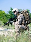 us soldier with assault rifle in action poster