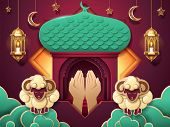 Prayer hands and islamic paper mosque entrance for Eid al-Adha or ul-Adha, muslim festival of sacrifice card. Sheeps on cloud and lantern, fanous, crescent and stars for islam ramadan holiday.Religion poster