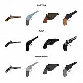 Isolated object of revolver and pistol logo. Set of revolver and trigger vector icon for stock. poster