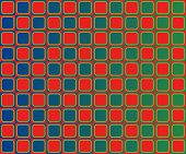 Op Art Checkerboard Of Rounded Squares Green Red Blue poster