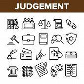Judgement, Court Process Vector Thin Line Icons Set. Judgement, Trial Procedure Linear Pictograms. Legal Accusation, Litigation. Crime Investigation, Verdict, Indictment Oars Contour Illustrations poster